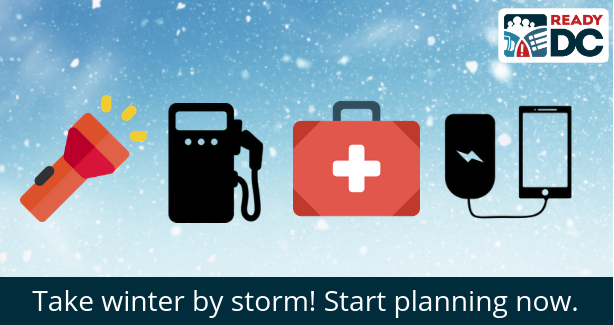 A snowy background with emergency kit items encouraging the public to take winter by storm and begin preparing now.