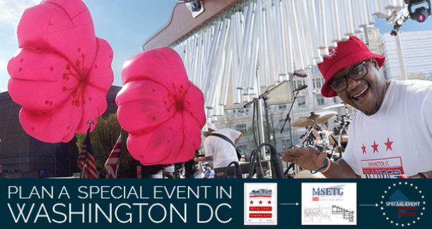 "Graphic of cherry blossoms and musician with banner at bottom that says ""PLAN A SPECIAL EVENT IN WASHINGTON DC"""
